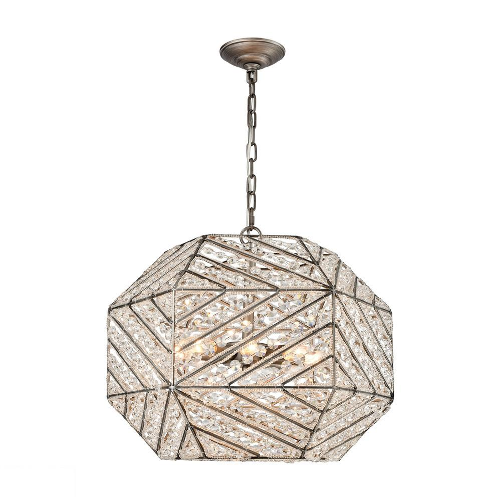 Constructs 8 Light LED Chandelier In Weathered Zinc. Picture 1