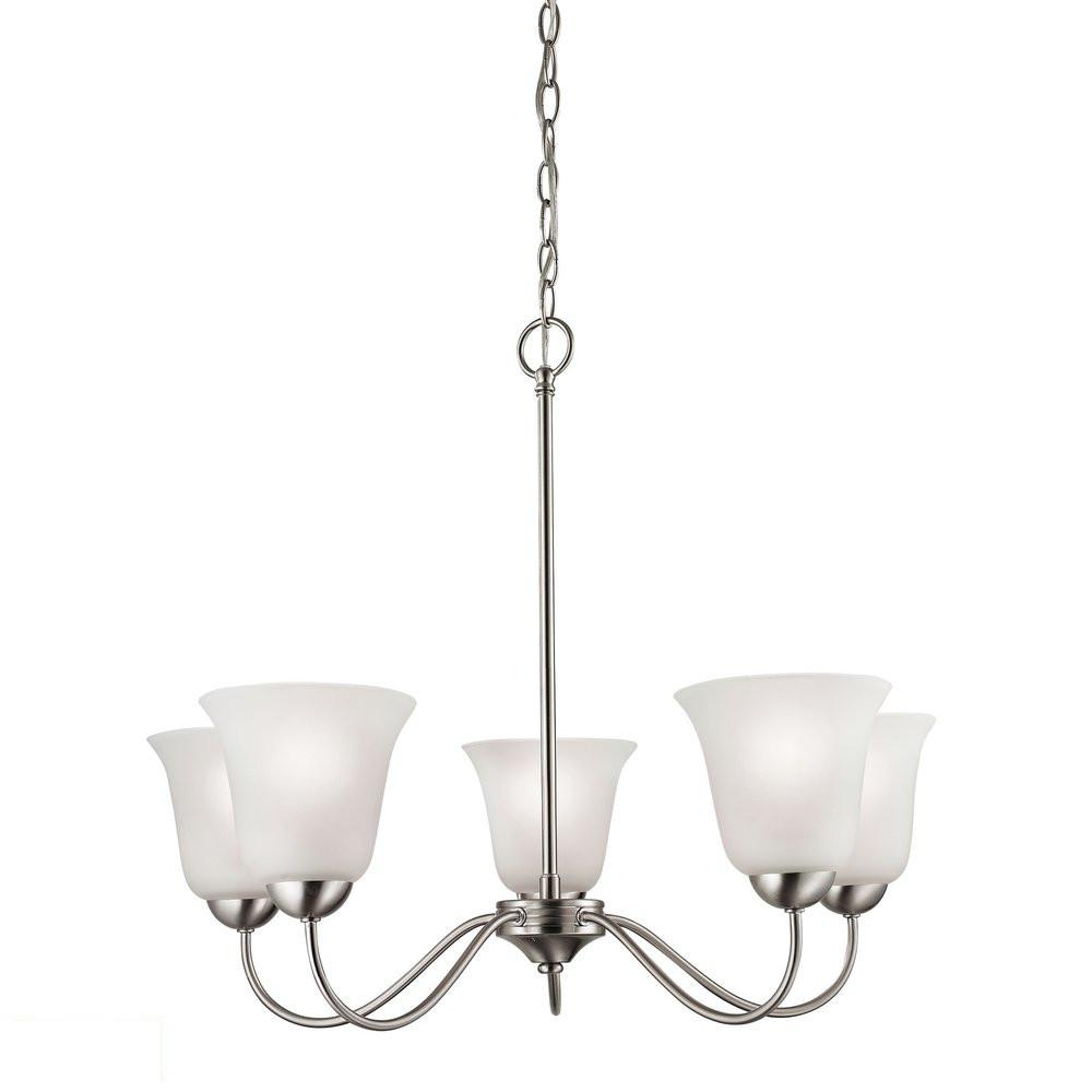 Conway 5 Light LED Chandelier In Brushed Nickel. Picture 1