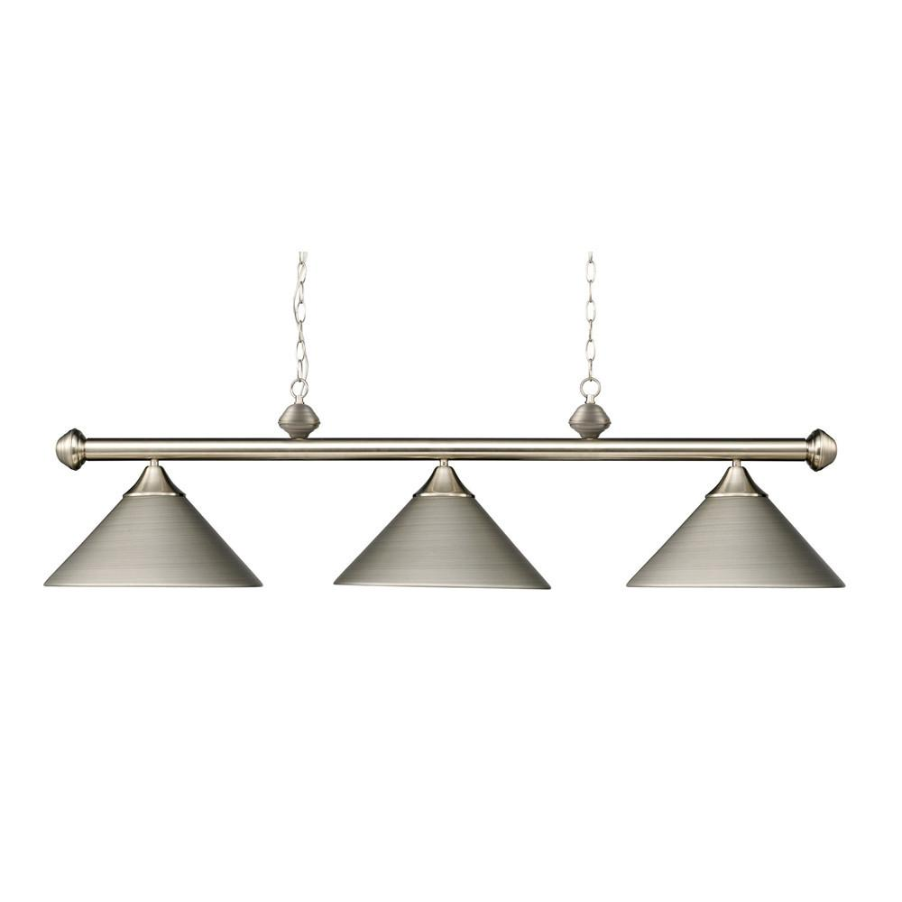 Casual Traditions 3 Light LED Billiard In Satin Nickel With Matching Metal Shades. Picture 1