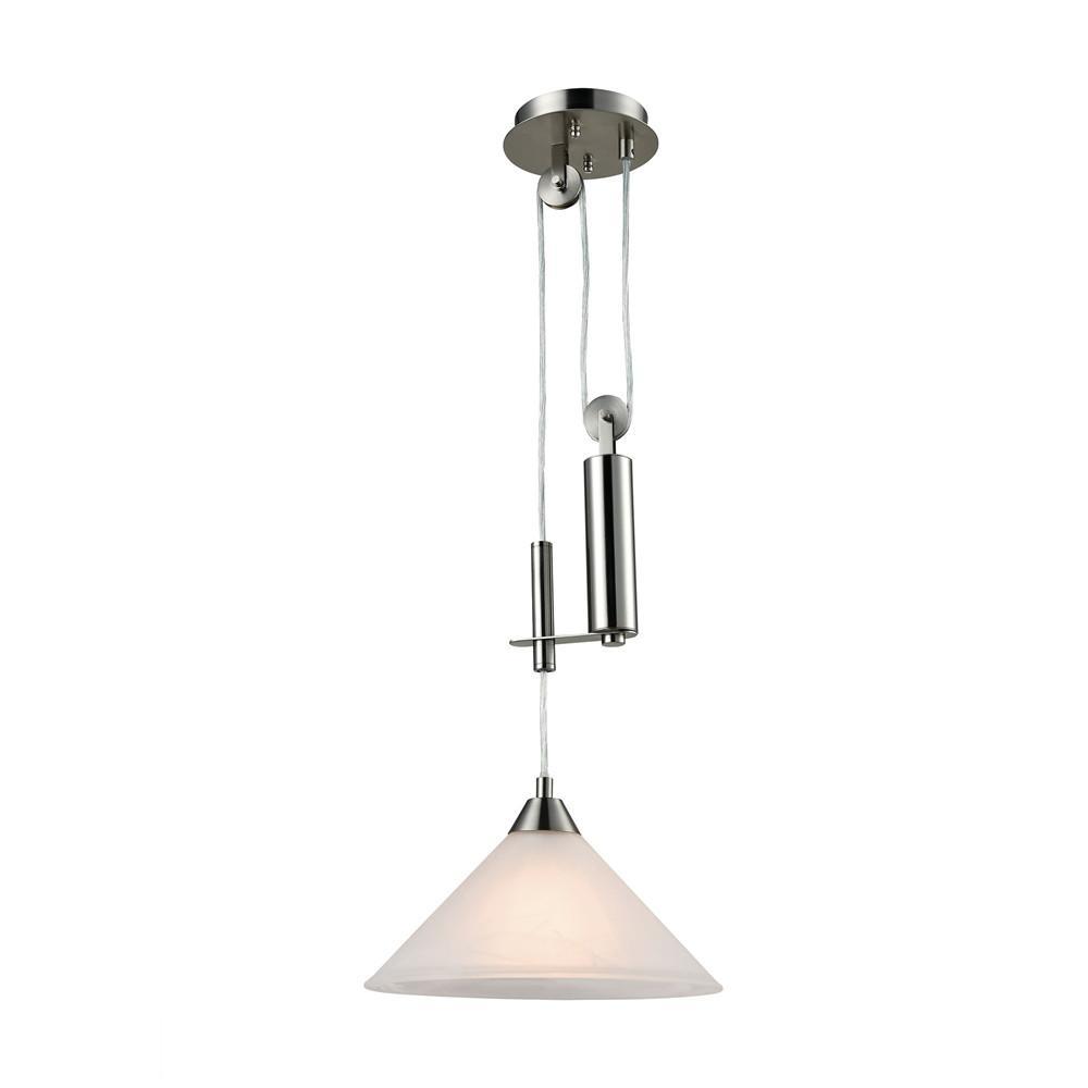 Elysburg 1 Light LED Pendant In Satin Nickel. Picture 1