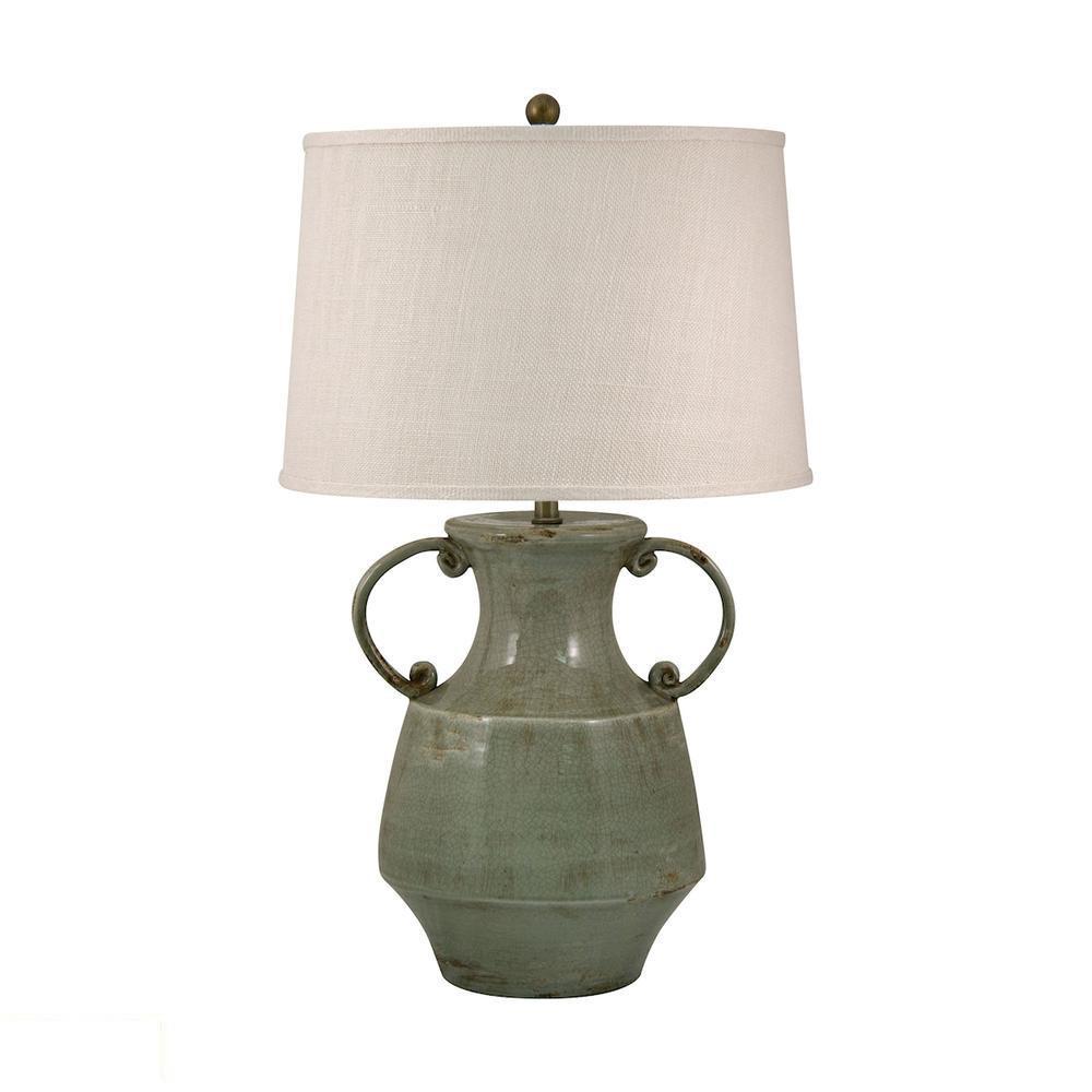 Antiqued Porcelain LED Table Lamp In Celadon Crackle Finish. Picture 1