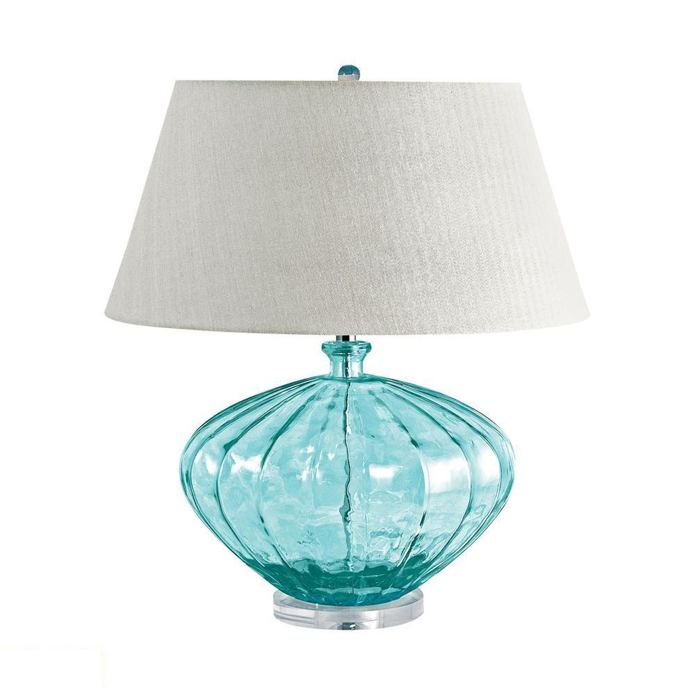 Recycled Fluted Glass Urn LED Table Lamp In Blue. Picture 1