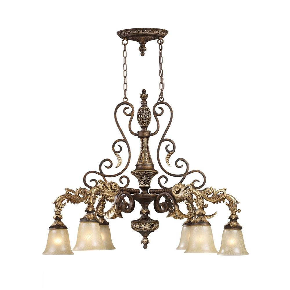 Regency 6 Light LED Island In Burnt Bronze And Gold Leaf. Picture 1