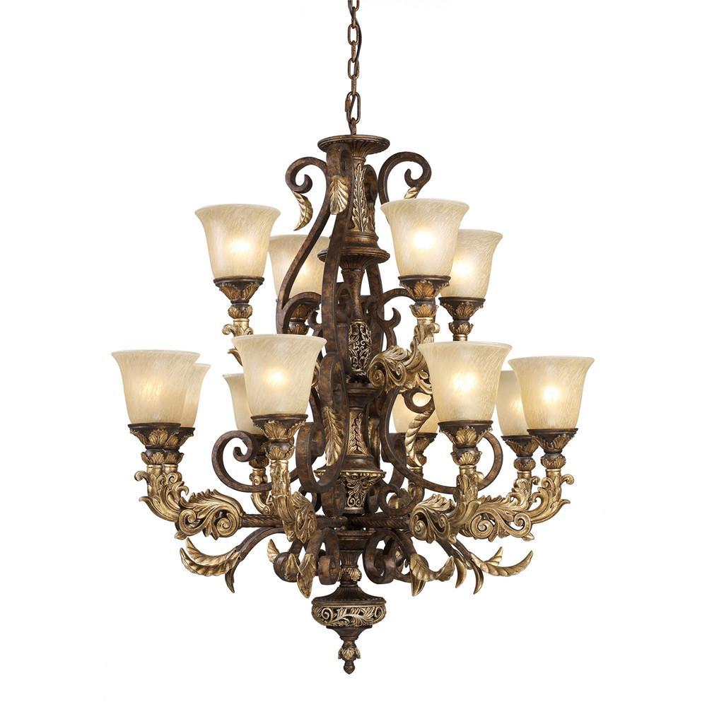 Regency 12 Light LED Chandelier In Burnt Bronze And Gold Leaf. Picture 1