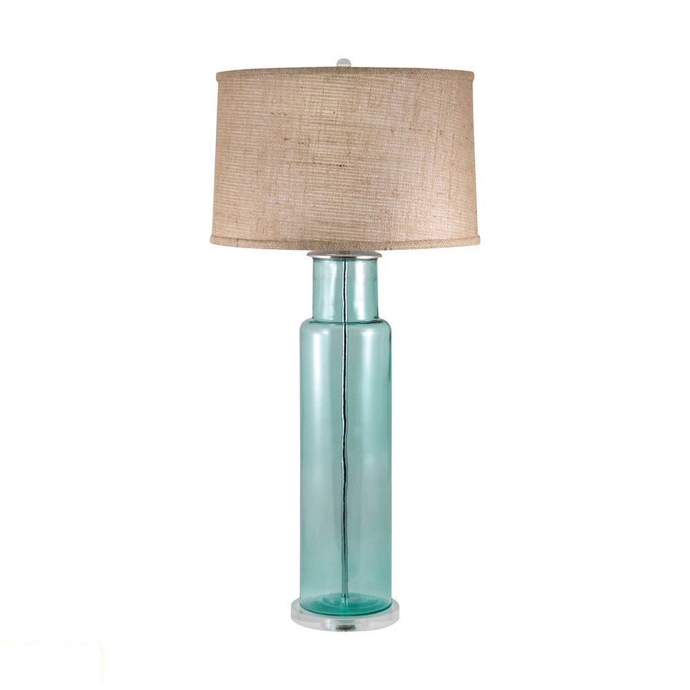 Recycled Glass Cylinder LED Table Lamp In Blue. Picture 1