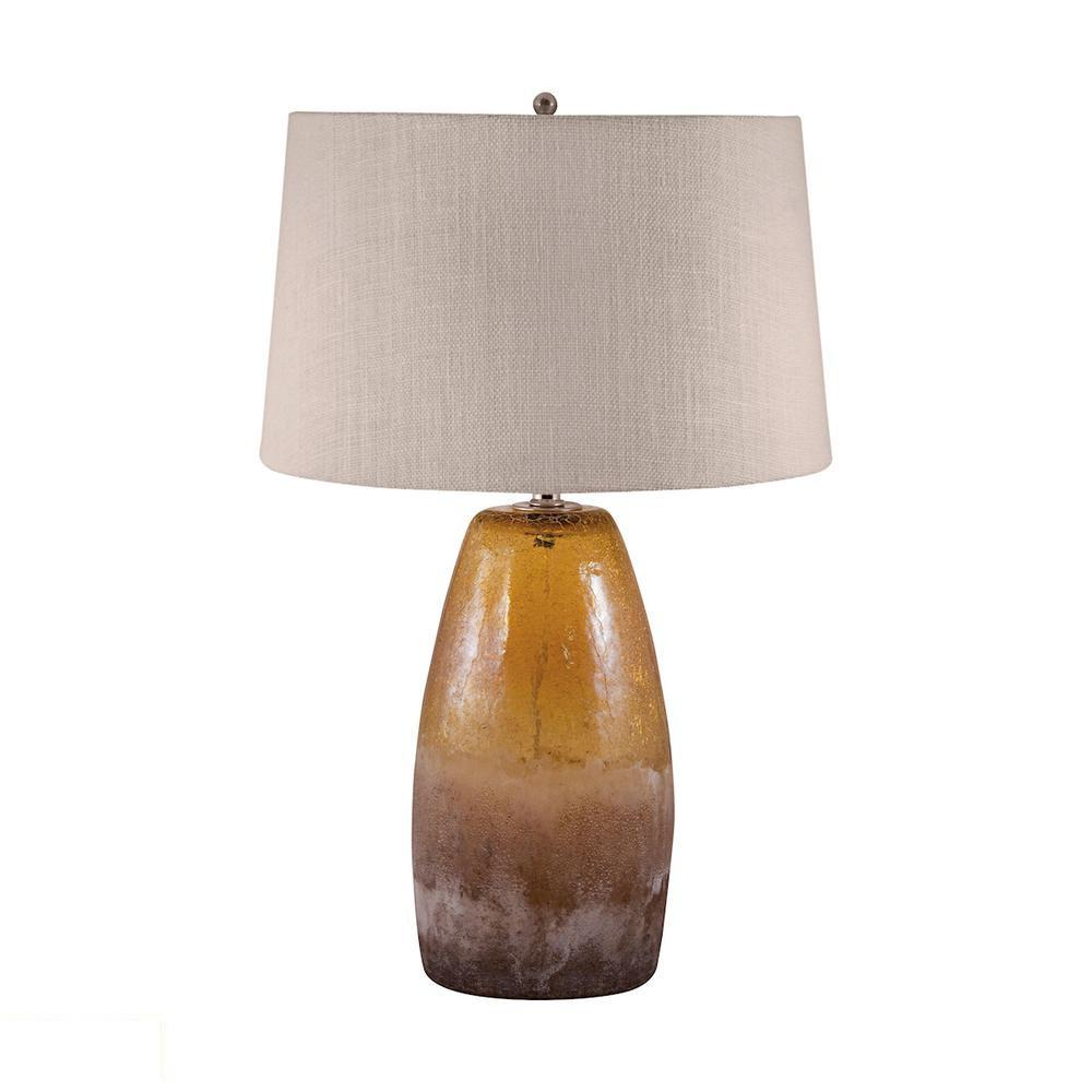Amber Crackle Arctic Glass LED Table Lamp. Picture 1