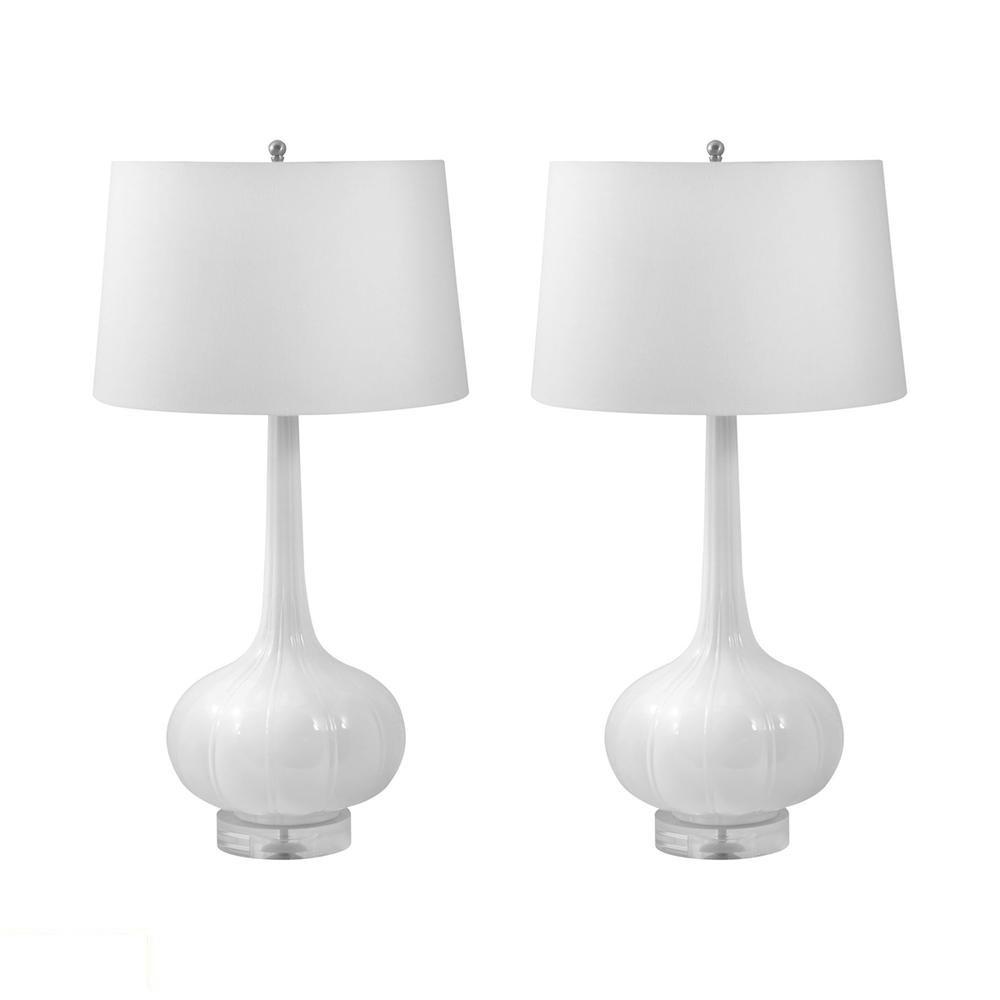 Del Mar Porcelain LED Table Lamp In White. Picture 1