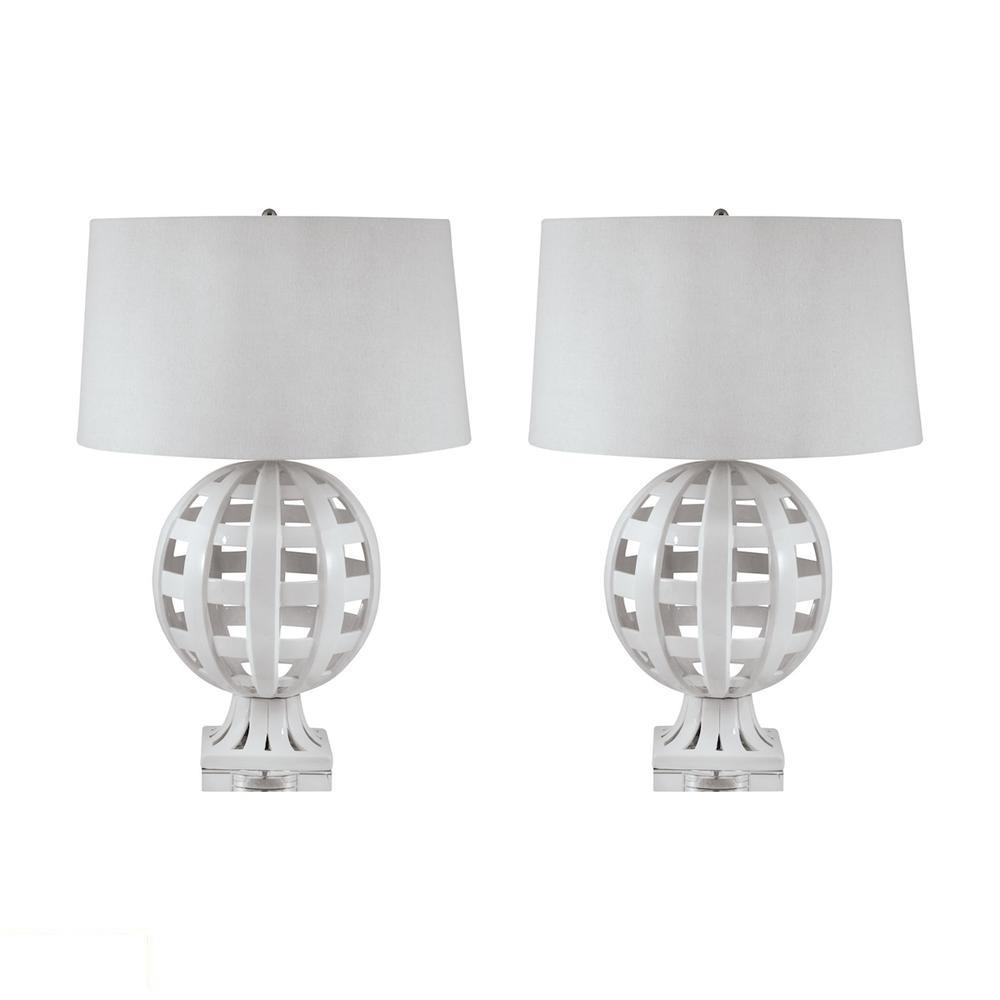 Open Work Ceramic Globe LED Table Lamp In White. Picture 1