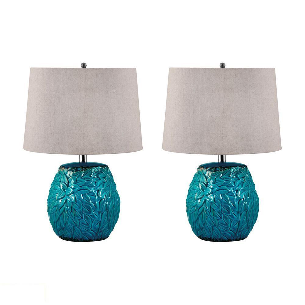 Aqua Leaf Terra Cotta LED Table Lamp. Picture 1