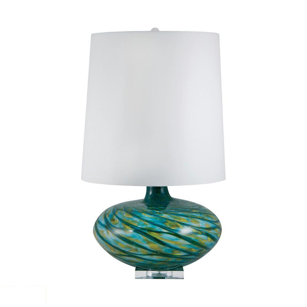 Big Bang Blown Glass LED Table Lamp In Blue Swirl. Picture 1