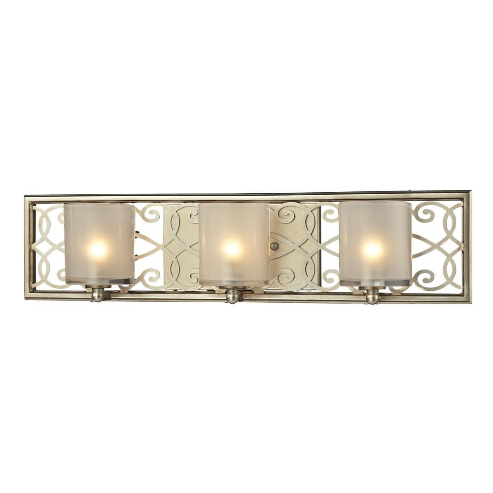Santa Monica 3 Light Vanity In Aged Silver. Picture 1
