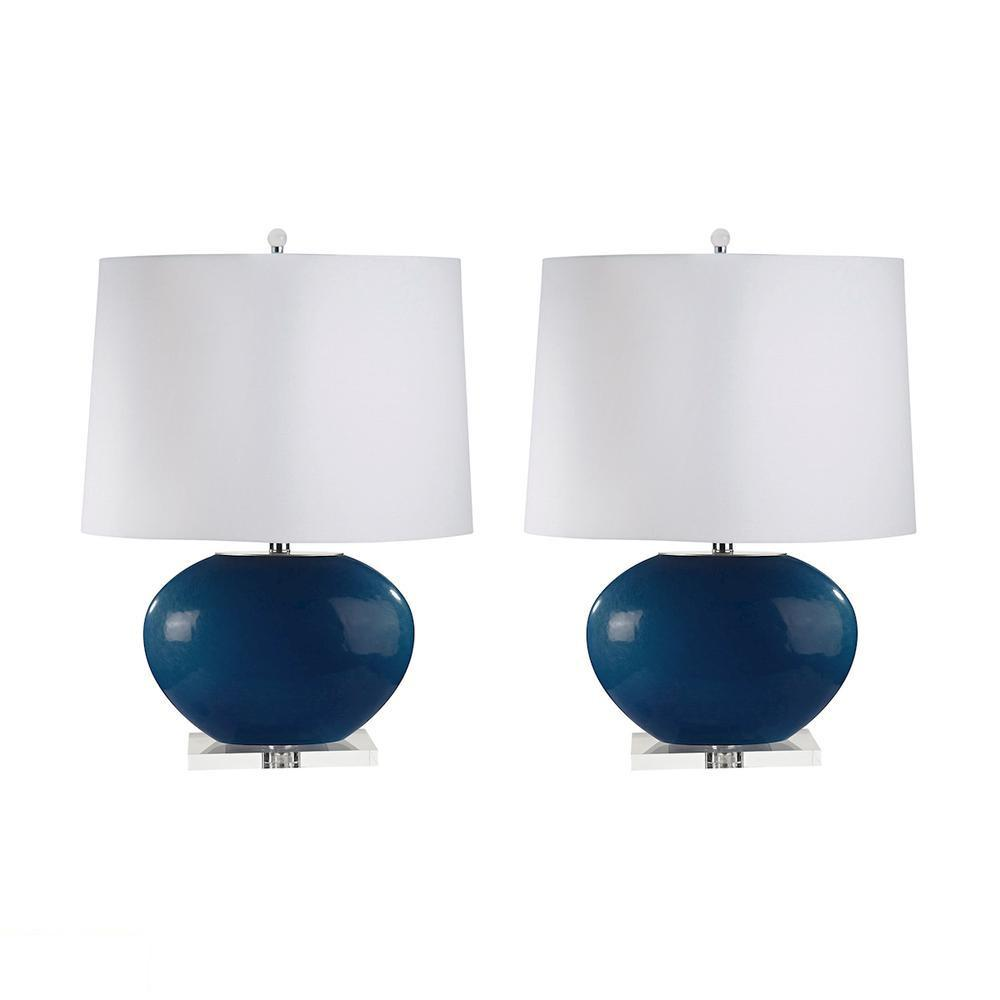 Blown Glass Oval LED Table Lamp In Royal Blue - Set of 2. Picture 1