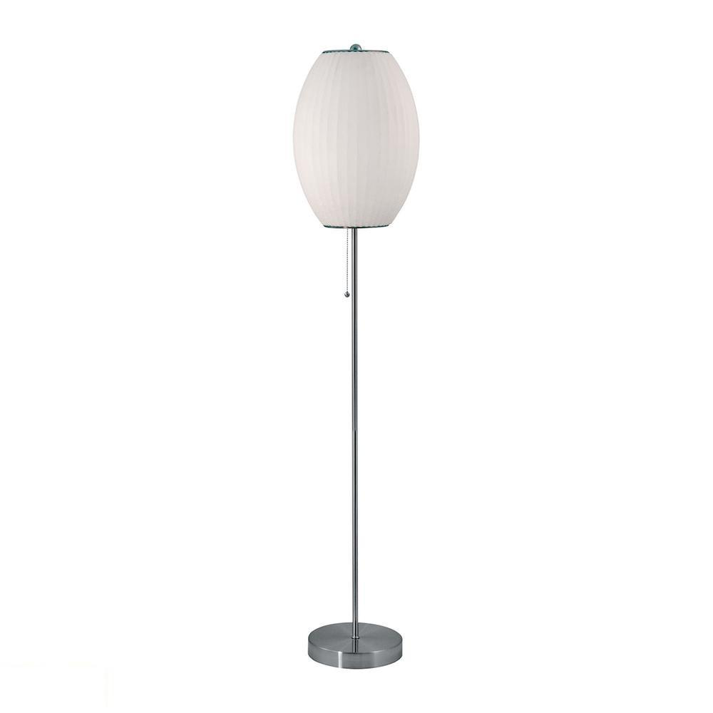 Cigar LED Floor Lamp In Satin Nickel And White. Picture 1