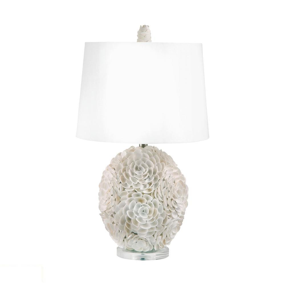 Hand Applied Natural Shells LED Table Lamp. Picture 1
