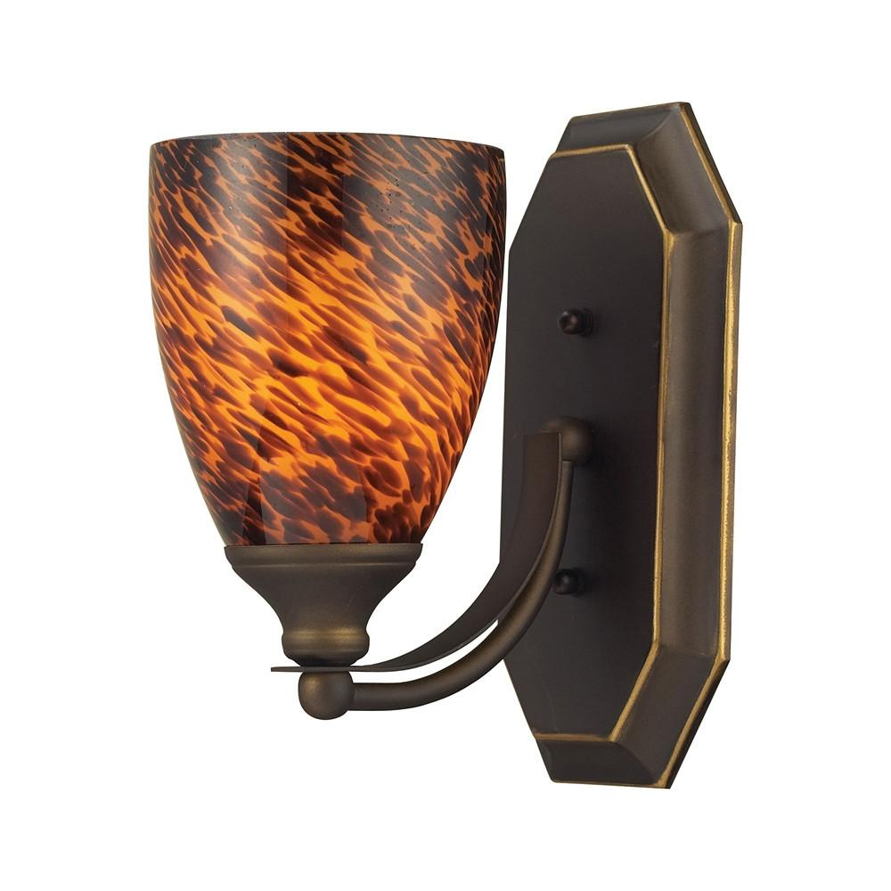 Bath And Spa 1 Light LED Vanity In Aged Bronze And Espresso Glass. Picture 1