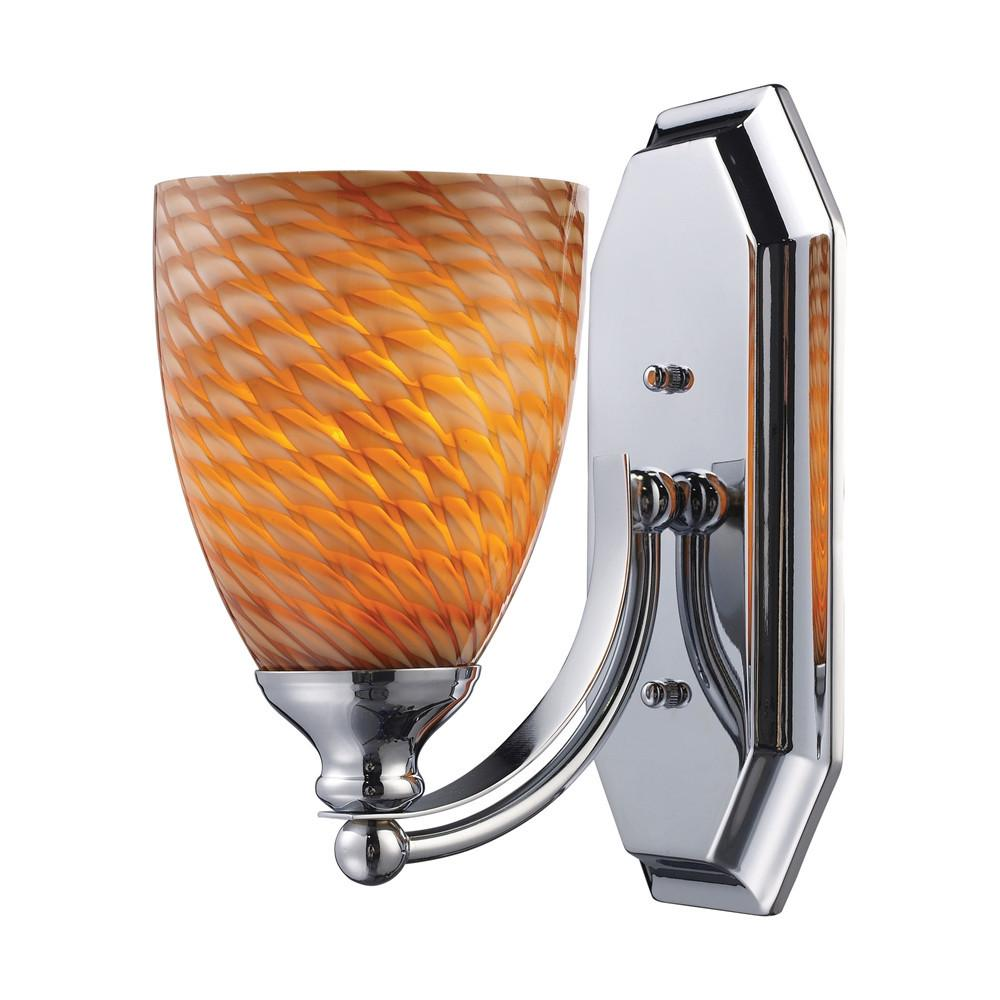 Bath And Spa 1 Light LED Vanity In Polished Chrome And Cocoa Glass. Picture 1