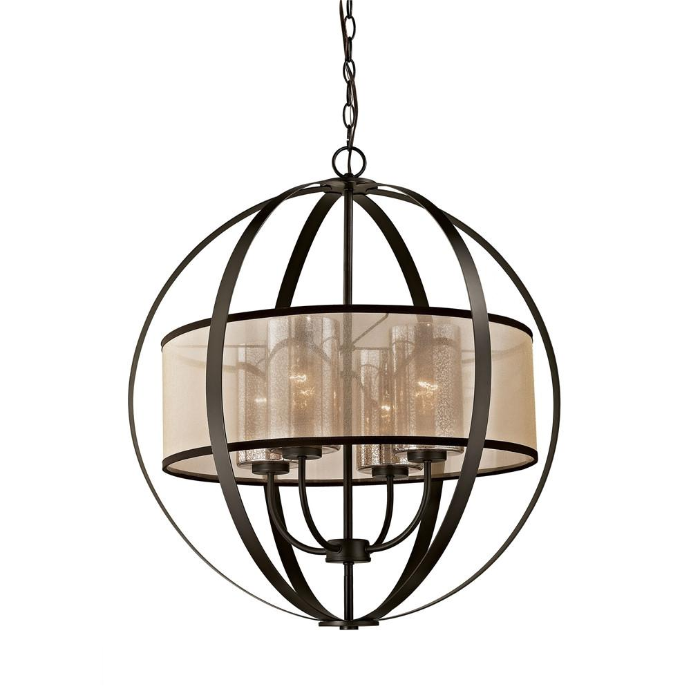 Diffusion 4 Light LED Chandelier In Oil Rubbed Bronze. Picture 1