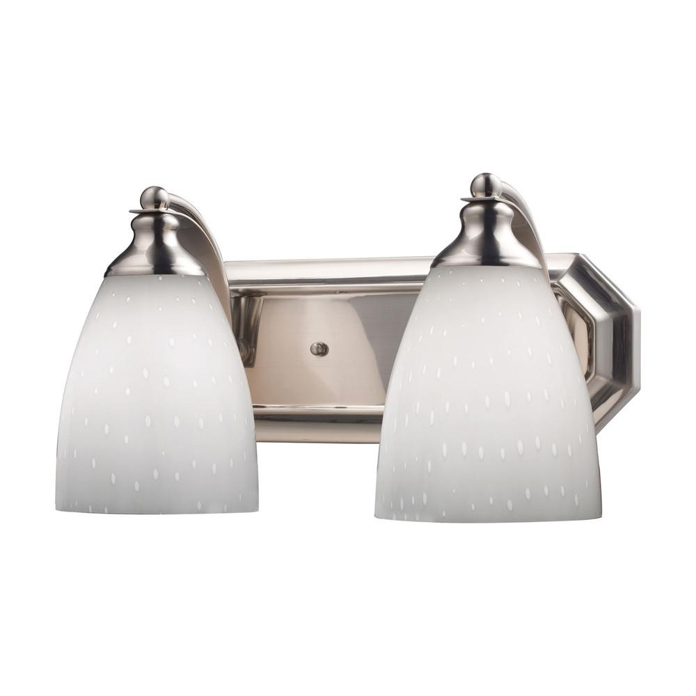 Bath And Spa 2 Light LED Vanity In Satin Nickel And Simple White Glass. Picture 1