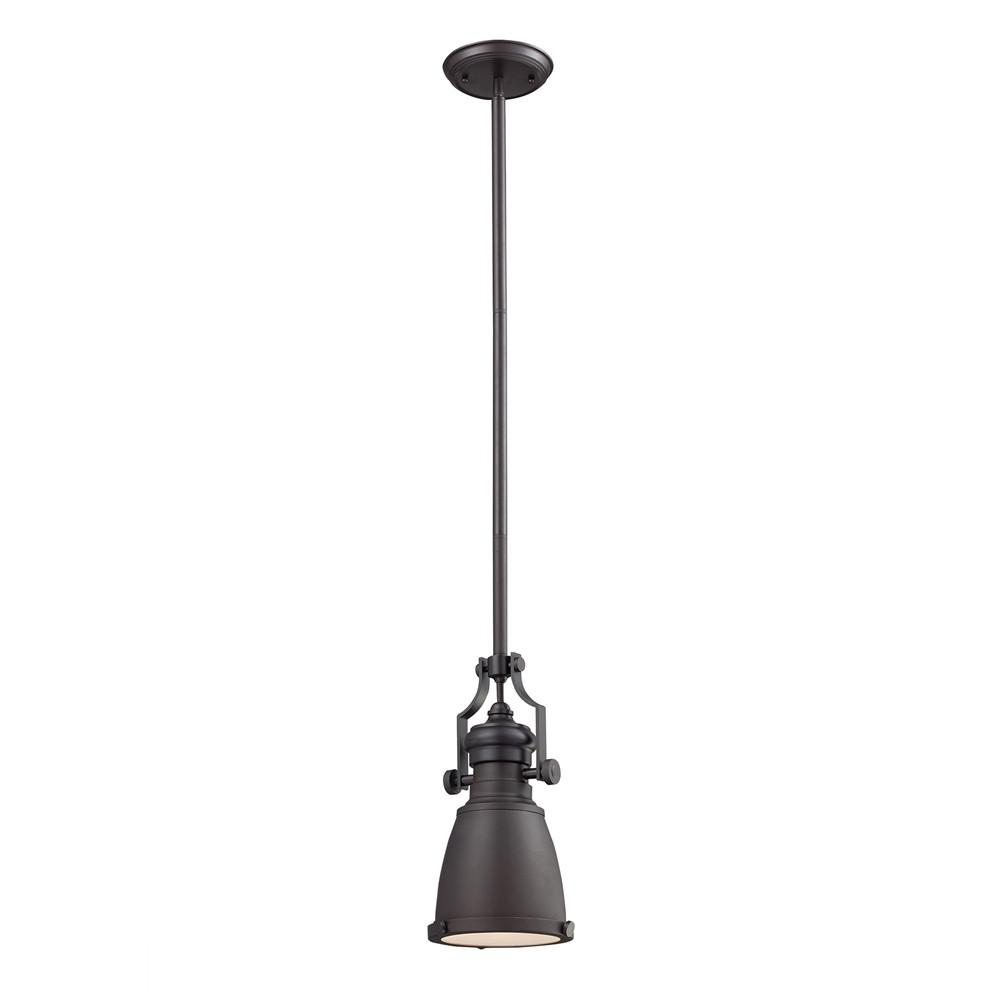 Chadwick 1 Light LED Pendant In Oiled Bronze. Picture 1