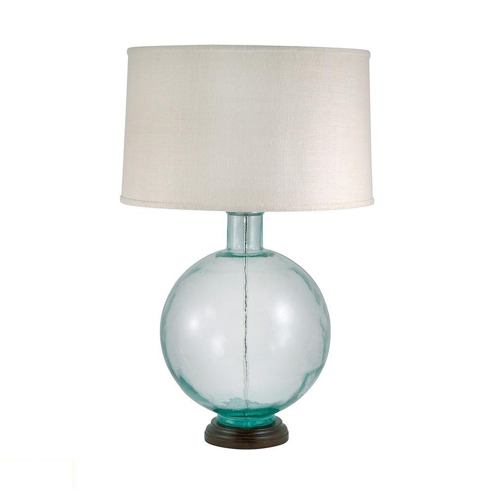 Aquamarine Recycled Glass Orb LED Table Lamp. Picture 1