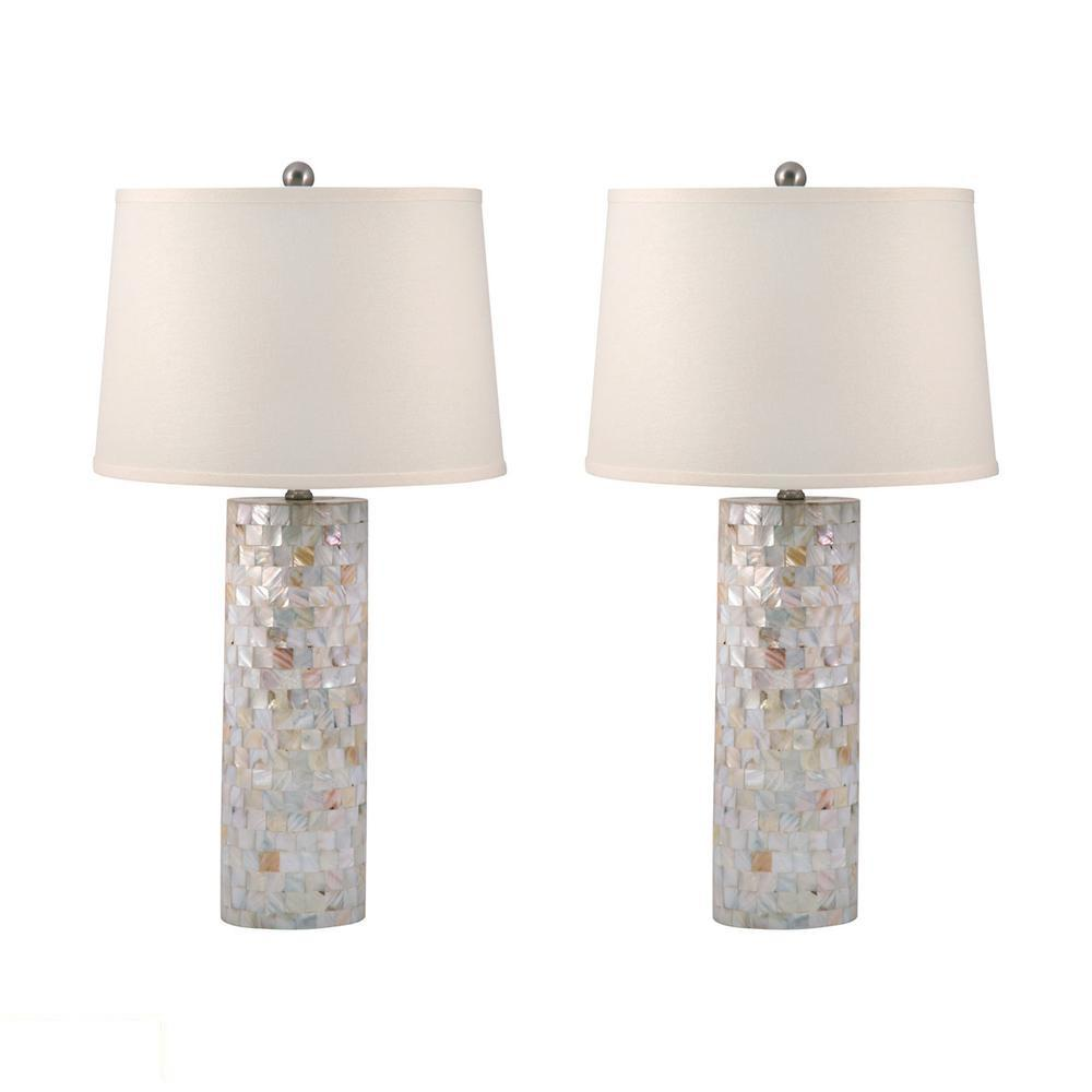 Mother of Pearl Cylinder LED Table Lamp. Picture 1