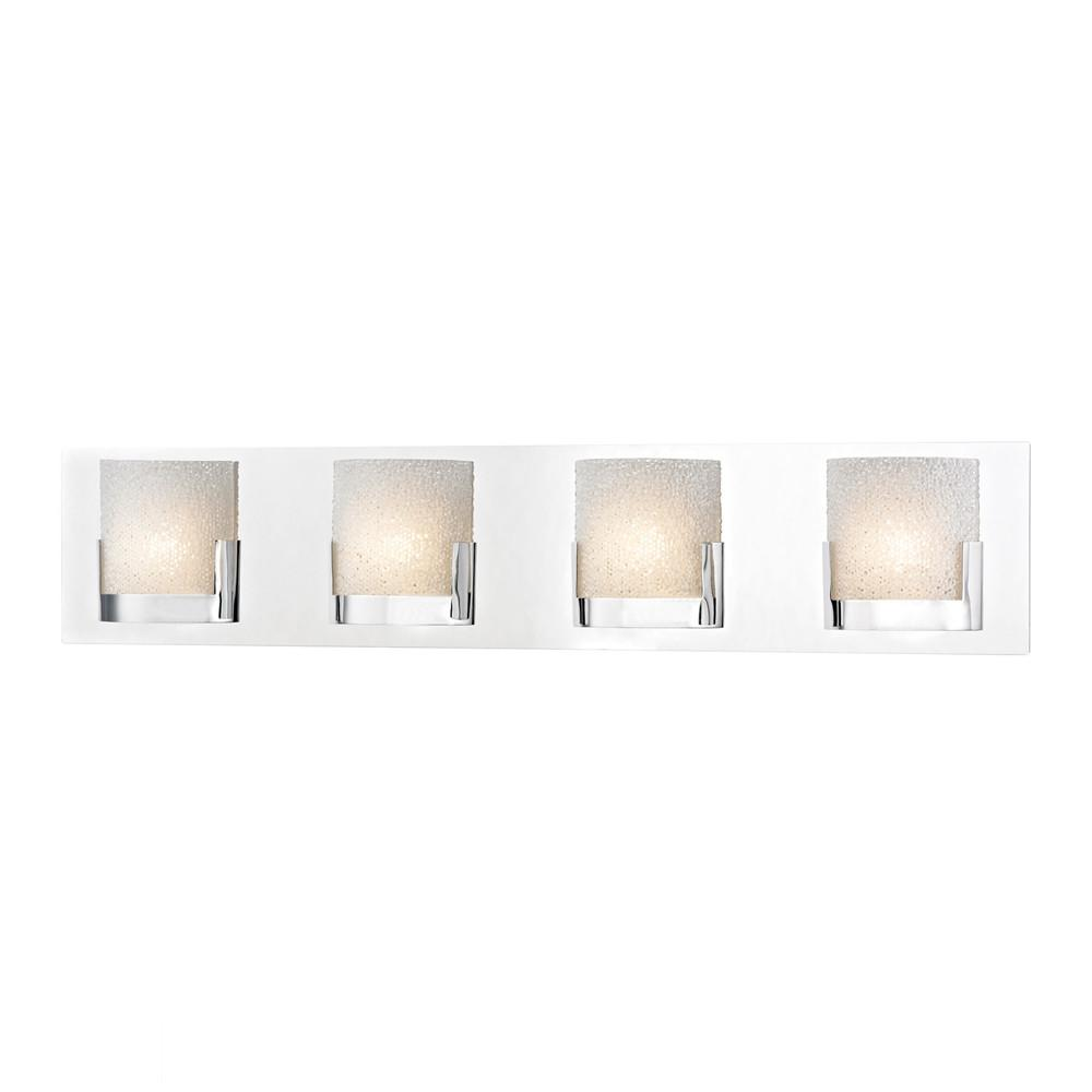 Ophelia 4 Light LED Vanity In Chrome And Clear Glass. Picture 1