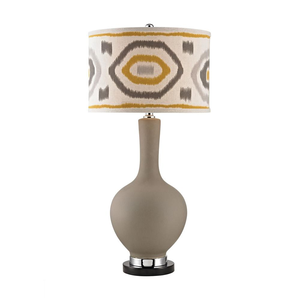 Matte Grey LED Lamp With Patterned Shade. Picture 1