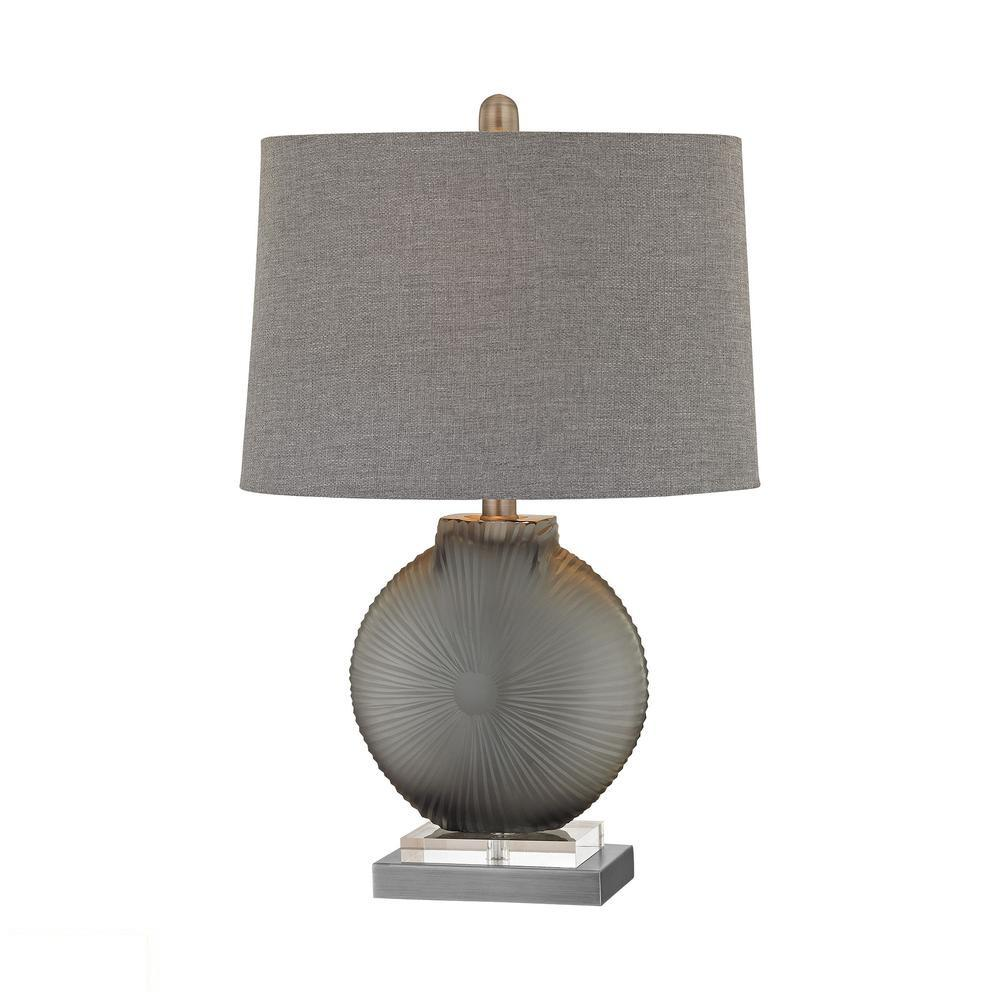 Simone 1 Light LED Table Lamp In Grey And Pewter. Picture 1