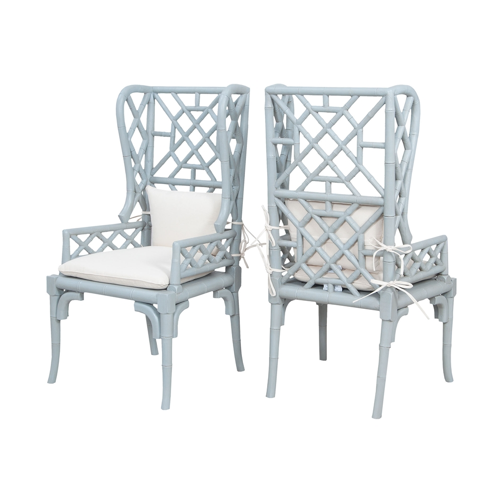 Bamboo Wing Back Chairs In Manor Slate - Set of 2. Picture 1