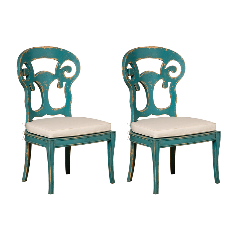 Verona Club Side Chairs In Crossroads Cyan With Muslin Cushions - Set of 2. Picture 1
