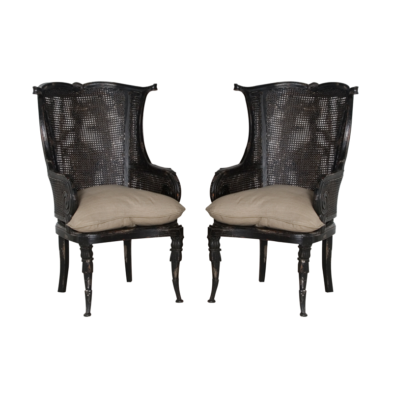 Caned Wingback Chair. Picture 1