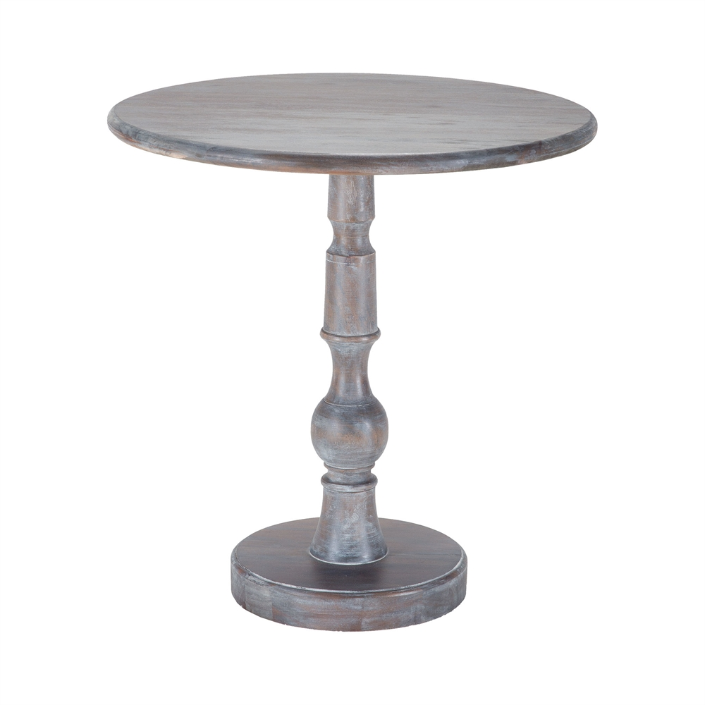 Acanthus Post Side Table In Waterfront Grey Stain With White Wash. Picture 1