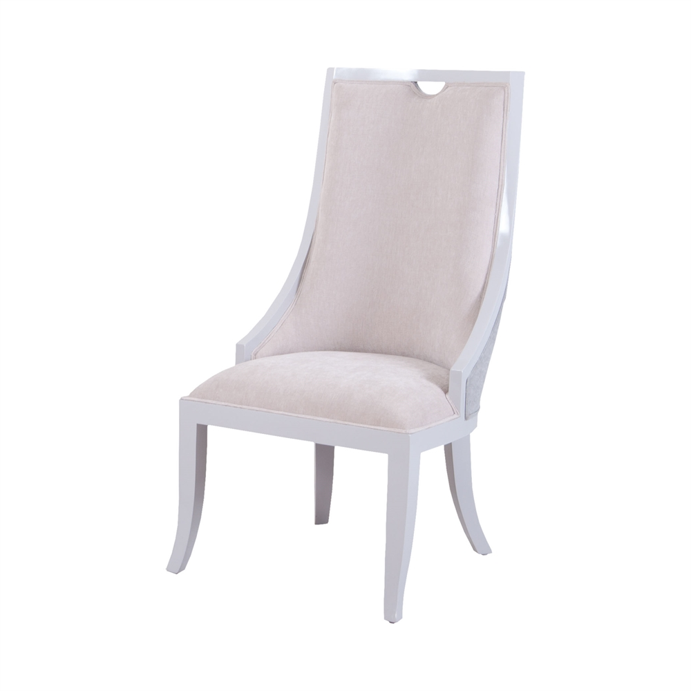 Rosa Vana Chair In Light Grey And Oyster Fabric. Picture 1