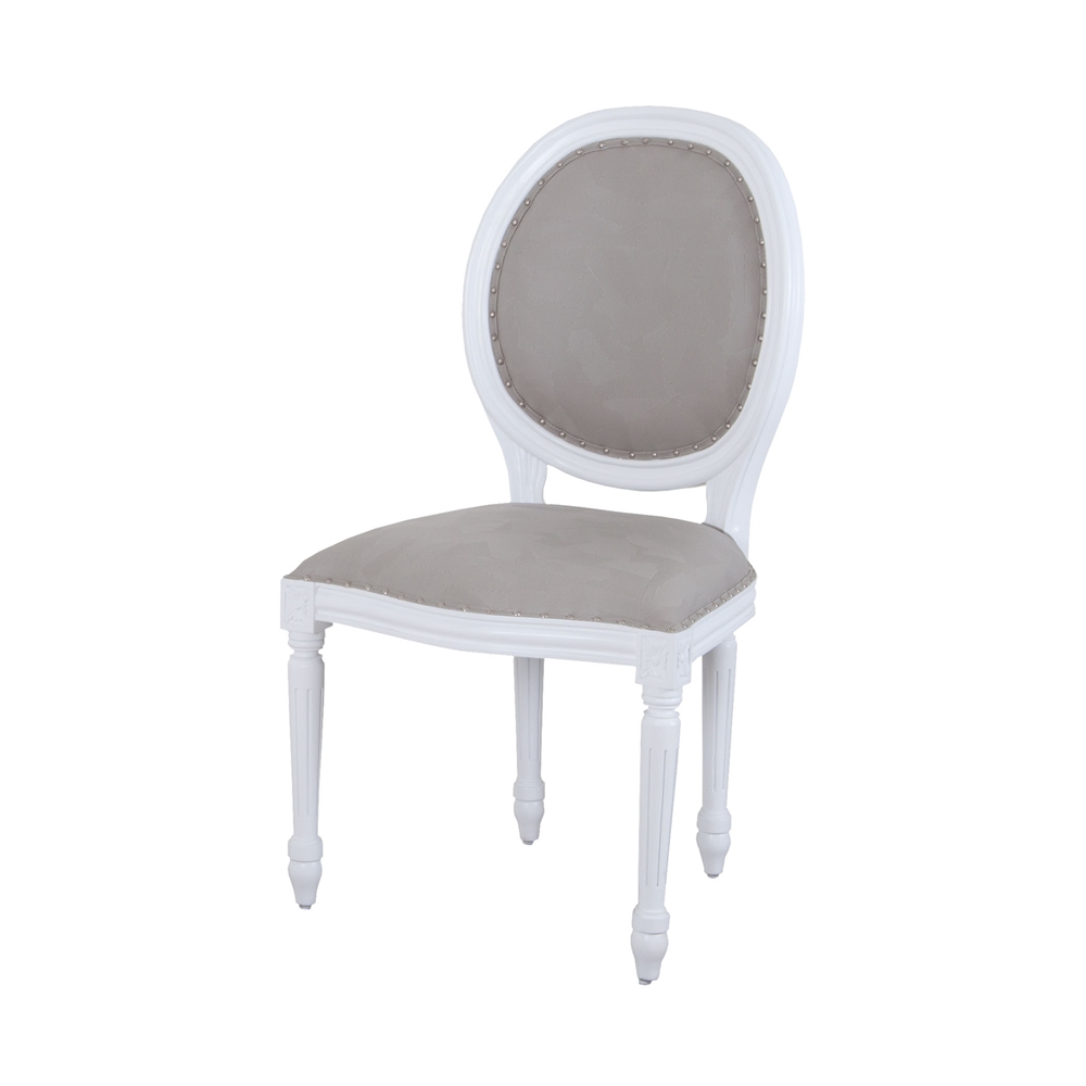 Viola Dining Chair In White And Grey. Picture 1