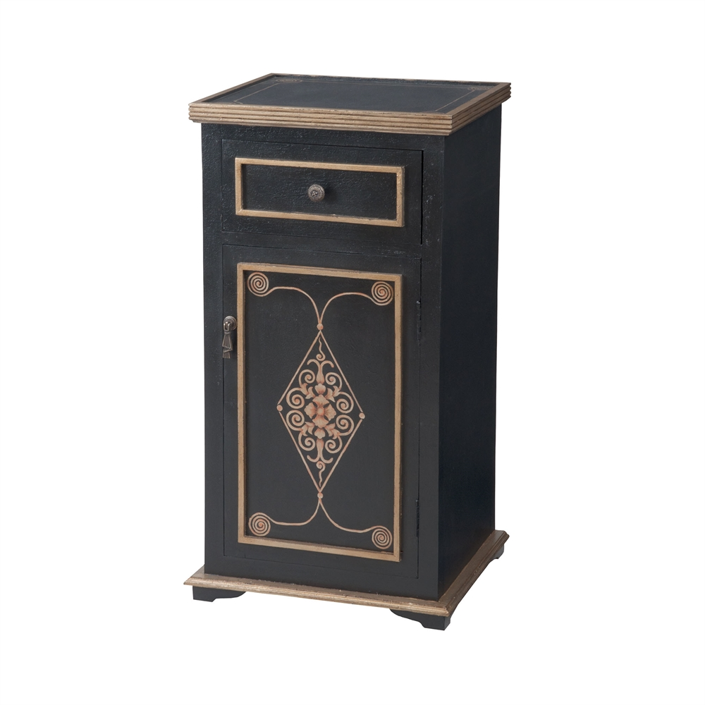 Medecci Chest In Black And Gold. Picture 1