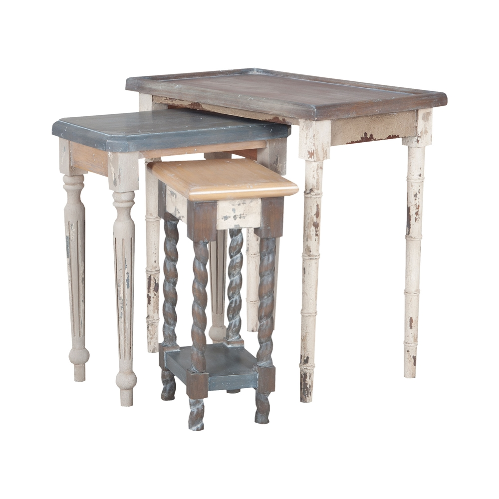 Artifacts Nesting Tables In Multi Stain Collage Finish. Picture 1