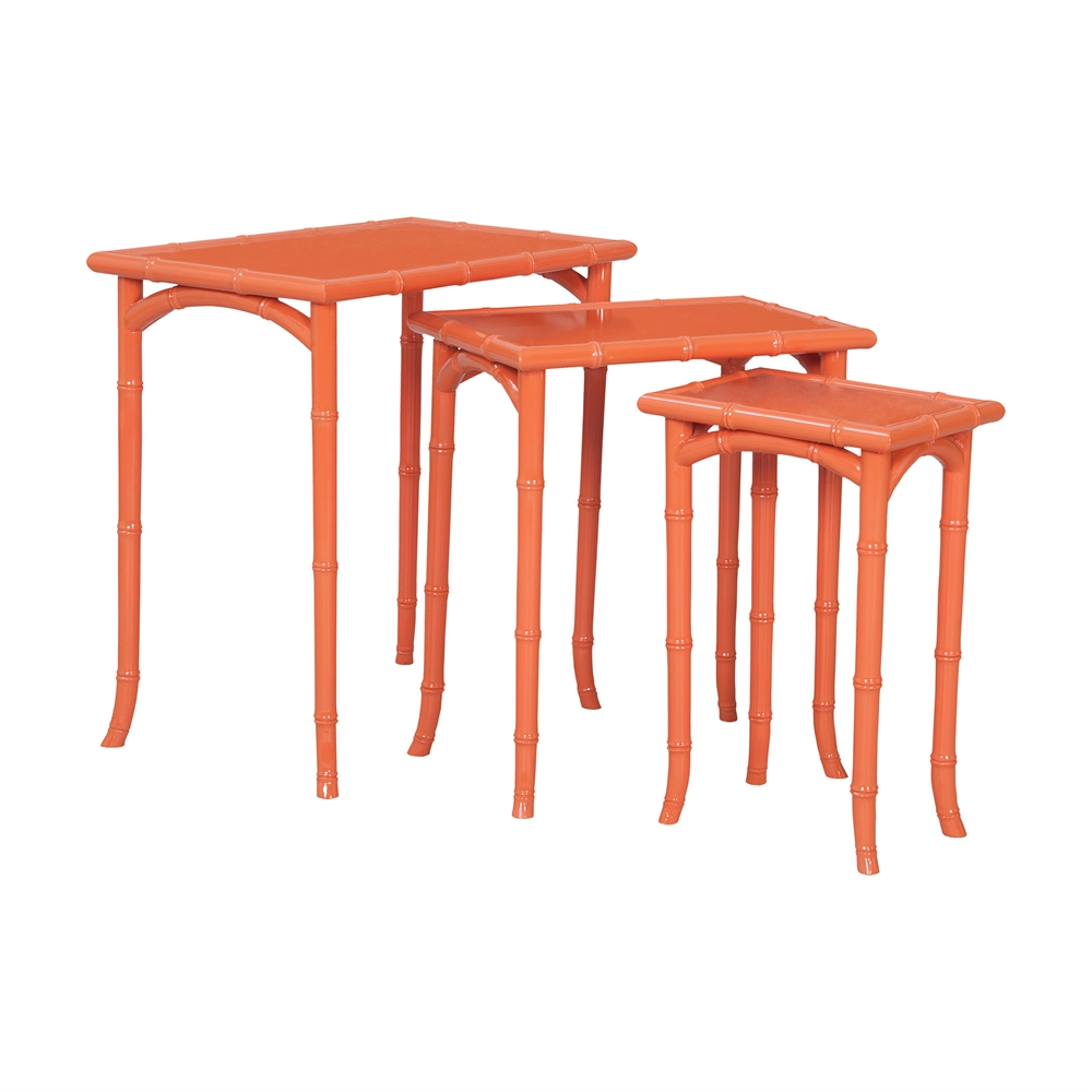 Loft Bamboo Nesting Tables In Loft Tangerine - Set of 3. Picture 1