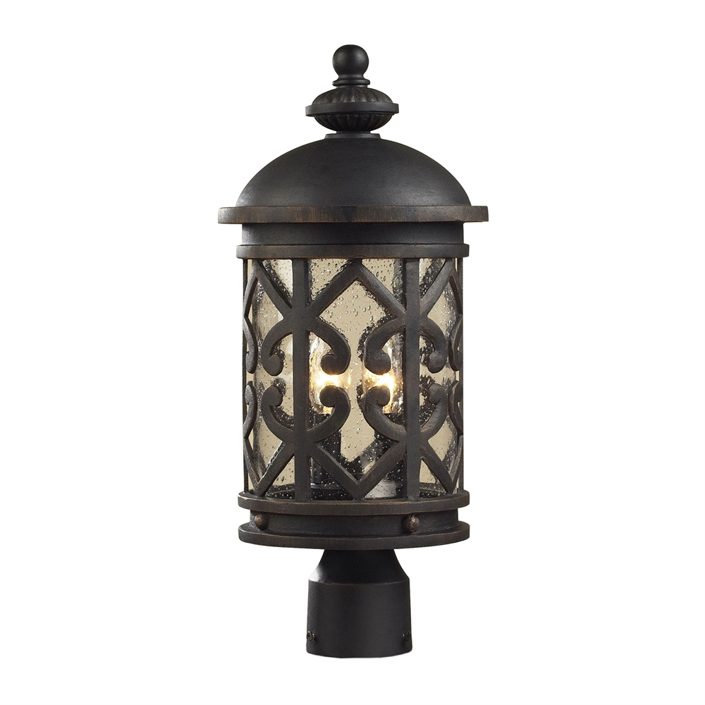 Tuscany Coast 2 Light Exterior Post Lamp In Weathered Charcoal. Picture 1