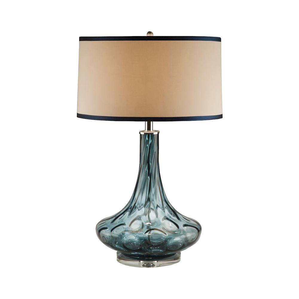 Blue Thumb Print Glass Table Lamp. Picture 1