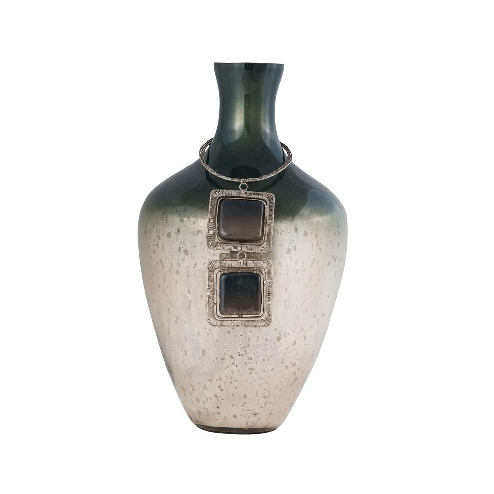 Vase Kairos 14-Inch Glass Vase In Slate. Picture 1