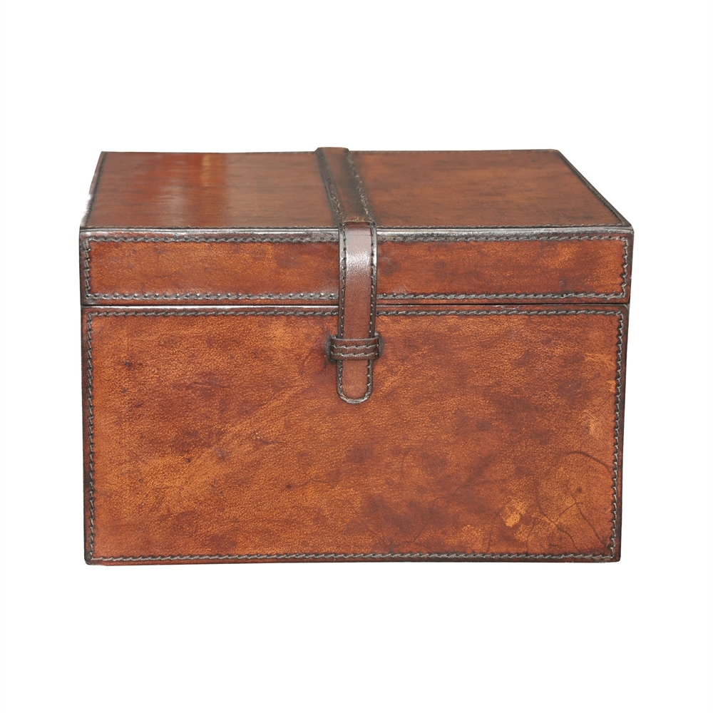 Small Stitched Leather Box. Picture 1