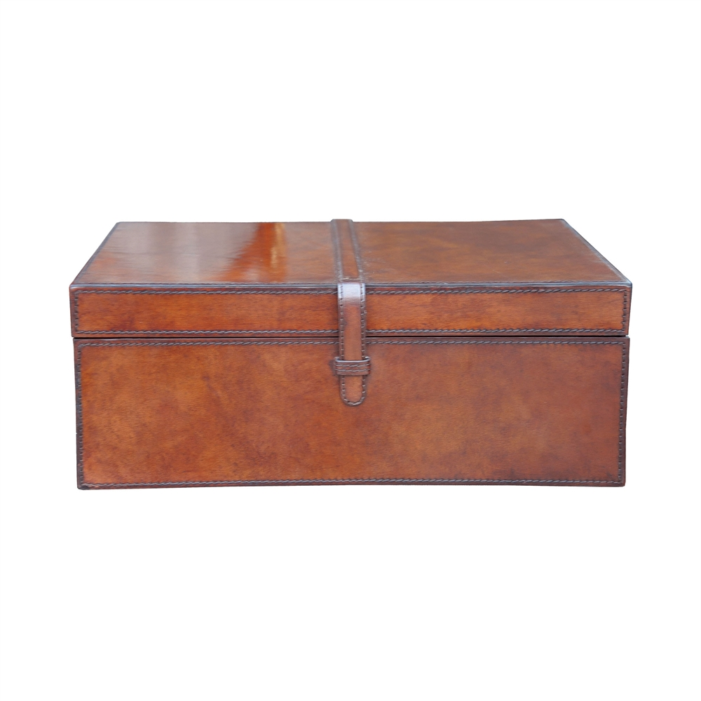Large Stitched Leather Box. Picture 1