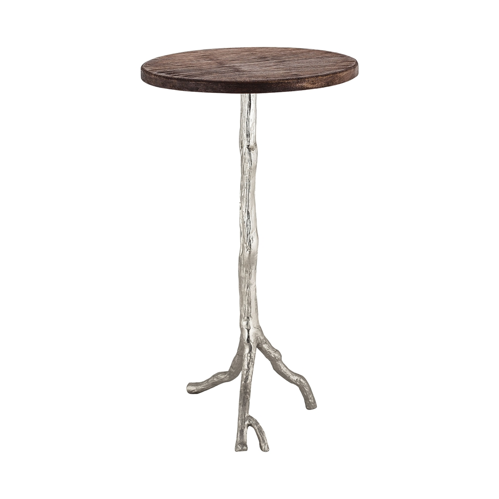Wood and Nickle Side Table. Picture 1