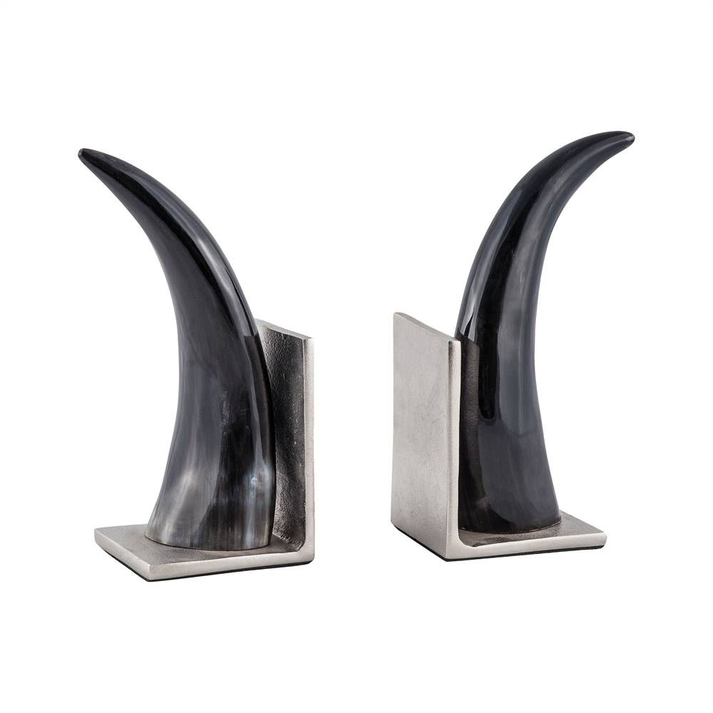 Abilene Natural Horn Bookends - Set of 2. Picture 1