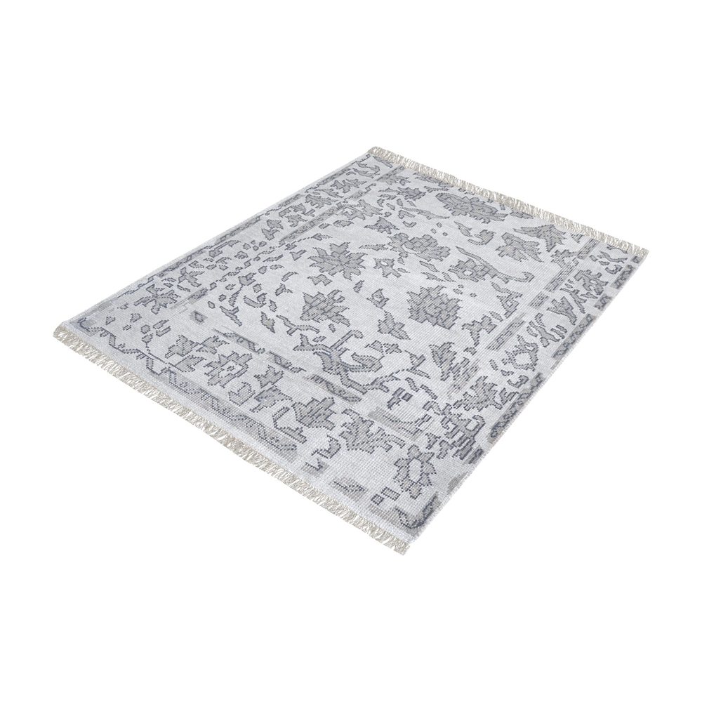 Harappa Handknotted Wool Rug In Grey - 6-Inch Square. Picture 1