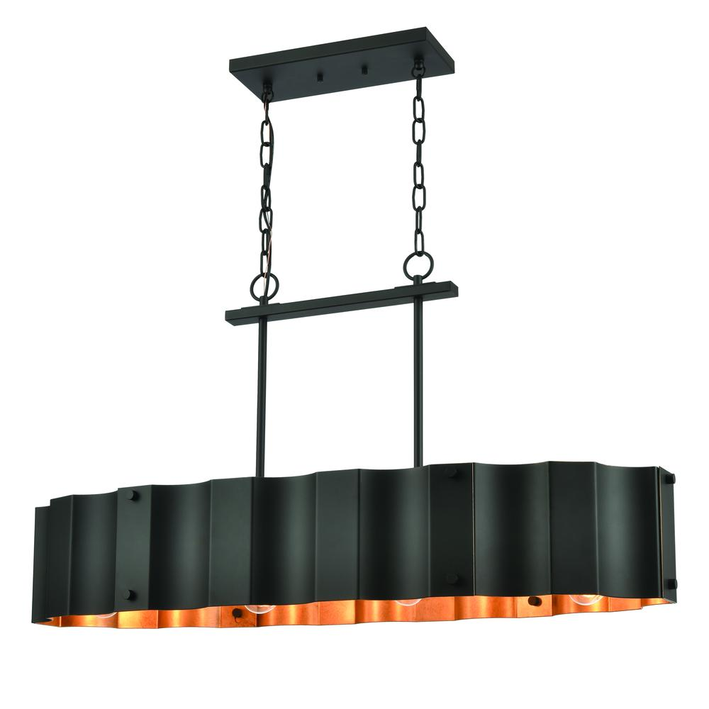 Clausten 4-Light Island Light in Black and Gold with Black Metal Shade. Picture 1
