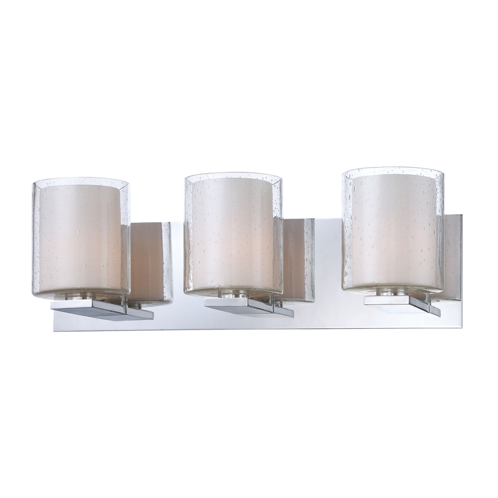 Combo 3 Light Vanity In Chrome And Clear Stromboli Outer Glass With White Opal Inner Glass. Picture 1