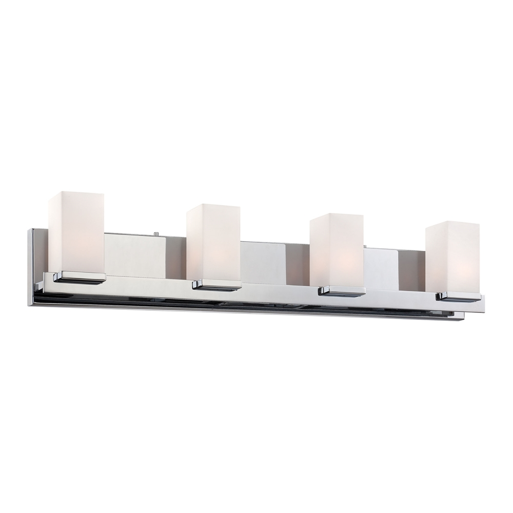Sleek 4 Light Vanity In Chrome And White Opal Glass. Picture 1