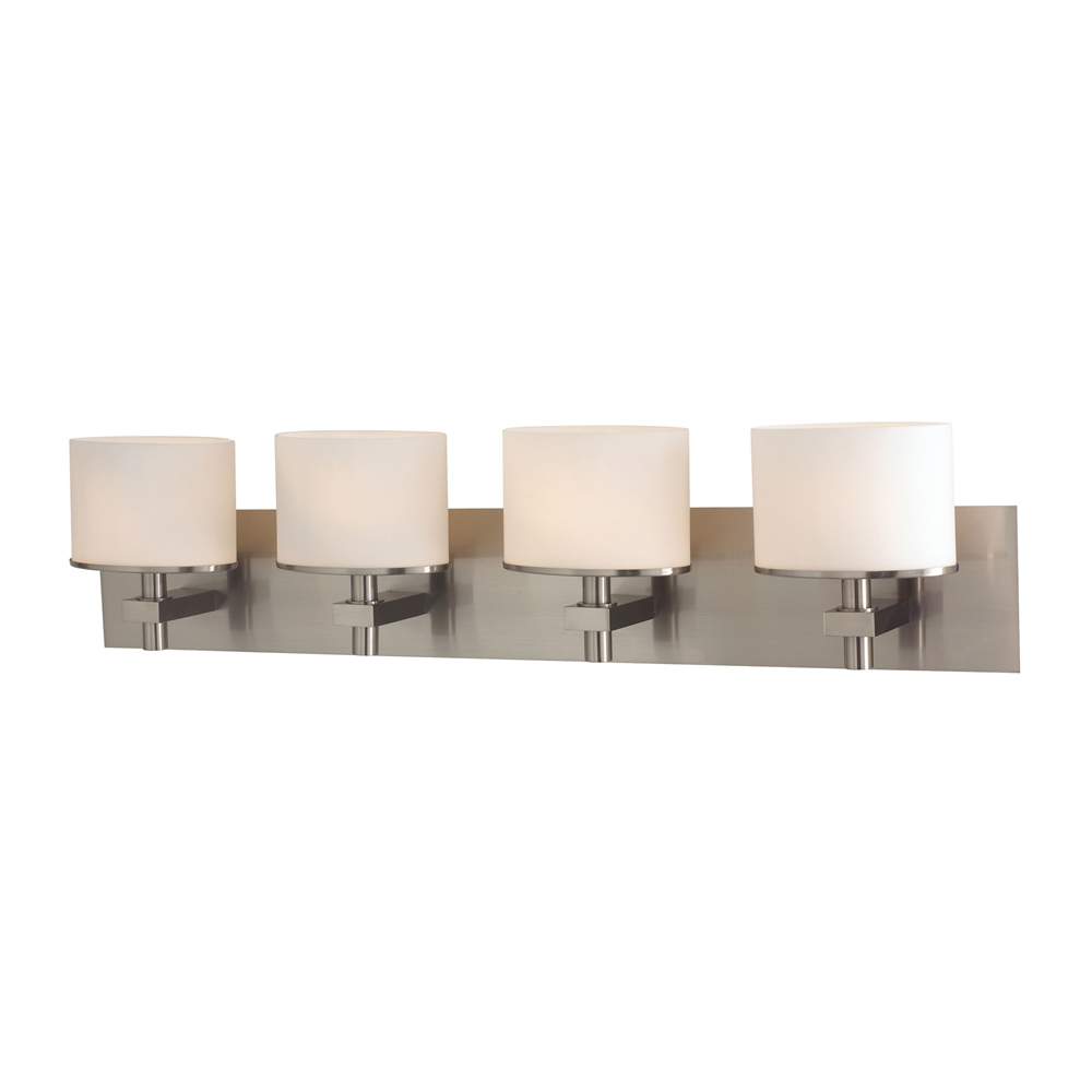 Ombra 4 Light Vanity In Satin Nickel And White Opal Glass. Picture 1