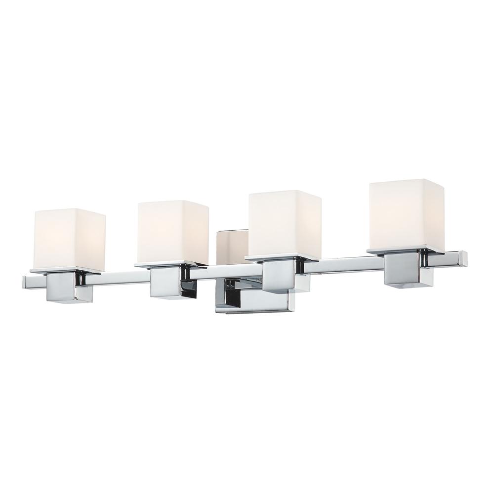 Lexington 4 light vanity in chrome and white opal glass for Lexington floor lamp chrome